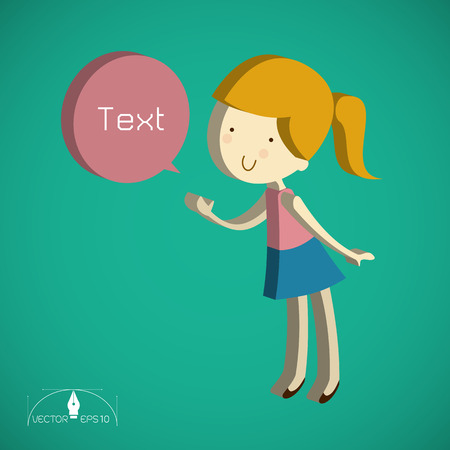 cute text box: Isometric cute girl cartoon Text Box illustration
