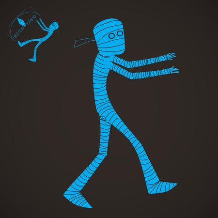 mummified: Halloween cartoon character set mummy illustration