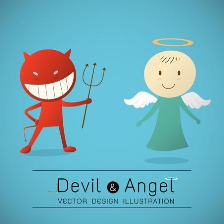 teufel und engel: Der rote Teufel und der nette Engel Illustration
