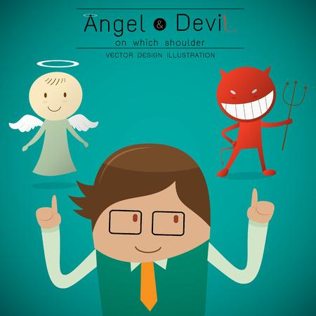 aureole: Shoulder devil and angel illustration