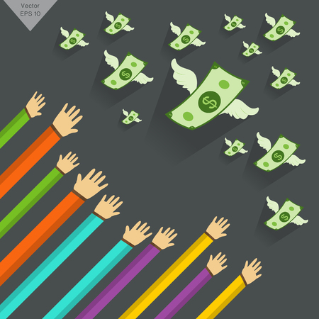 Hand und Geld Objekt-Abbildung mit Flügeln auf grauem Hintergrund fliegen Vektorgrafik
