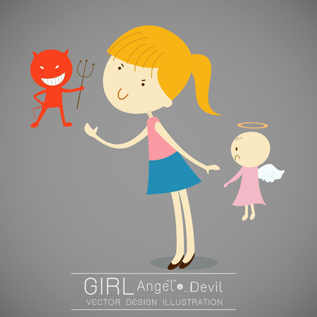 red devil: Girl with red devil and cute angel illustration