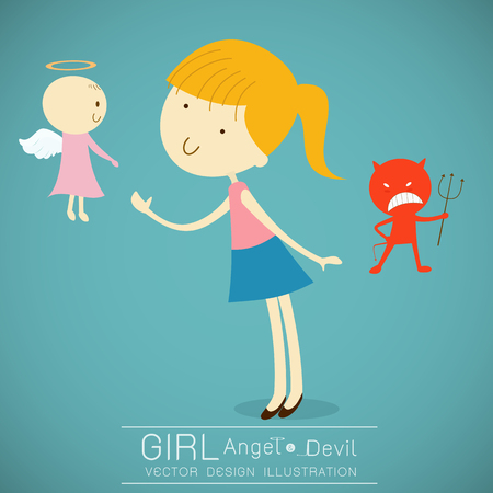 aureole: Girl with cute angel and red devil illustration