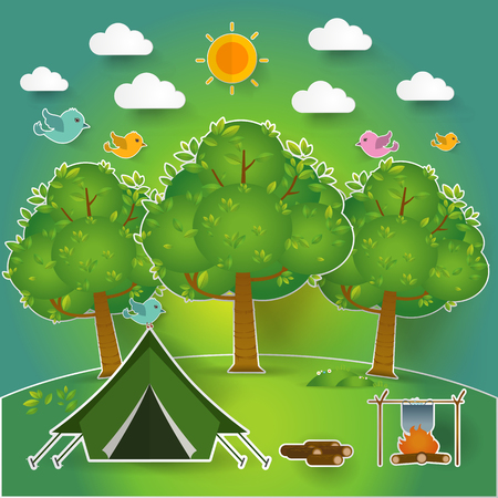 fishing village: summer landscape. Morning landscape in the forest. Solitude in nature by the river. Weekend in the tent. Hiking and camping. pop up paper cut illustration