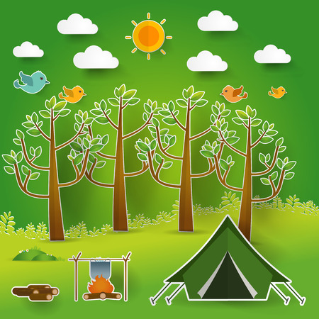 solitude: summer landscape. Morning landscape in the forest. Solitude in nature by the river. Weekend in the tent. Hiking and camping. pop up paper cut illustration