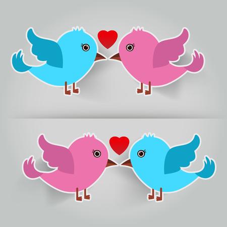 flying kiss: birds in love illustration
