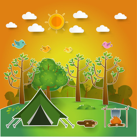 romance bed: summer landscape. Morning landscape in the forest. Solitude in nature by the river. Weekend in the tent. Hiking and camping. pop up paper cut illustration