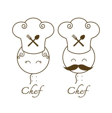 gastronomy: couple chef restaurant menu gourmet gastronomy cuisine kitchen pictogram
