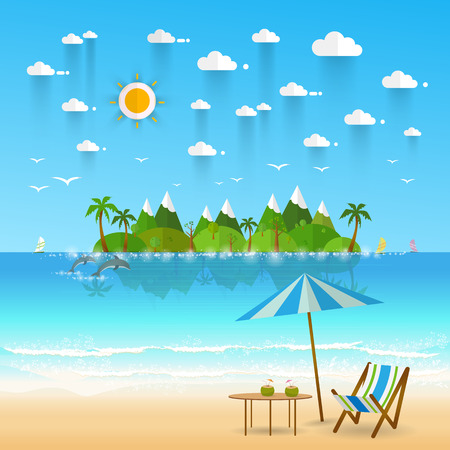 lounging: Idyllic paradise coast landscape with mountains. Summer camp vacation concept in flat style design