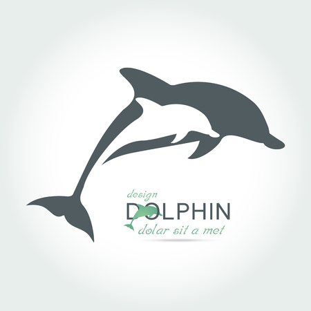 Dolphin icon design element on white background . Vettoriali