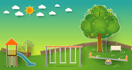paper cut: Kids playground. Buildings for city construction. Set of elements to create urban background, village and town  landscape pop up paper cut style, Vector illustration