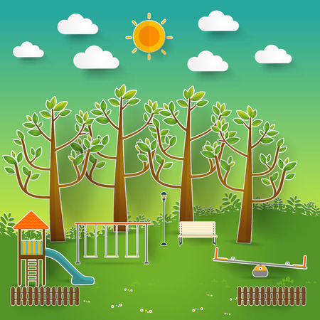 sandpit: Kids playground. Buildings for city construction. Set of elements to create urban background, village and town landscape pop up paper cut style, Vector illustration