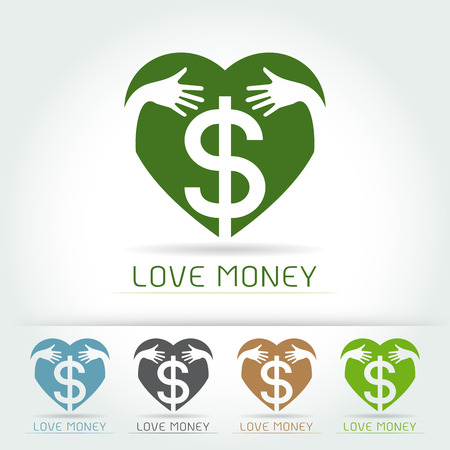 pondering: Dollar Sign Icon,hug and love save money concept on white background Vector illustration