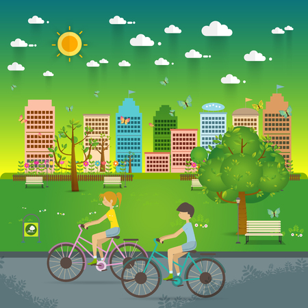 Couple Riding Bicycles In Public Park. Natural landscape in the flat style. a beautiful park.Environmentally friendly natural landscape.Vector illustration Иллюстрация