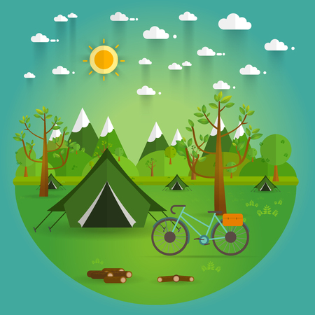 blue romance: summer landscape. Morning landscape in the mountains. Solitude in nature by the river. Weekend in the tent. Hiking and camping. Vector flat illustration