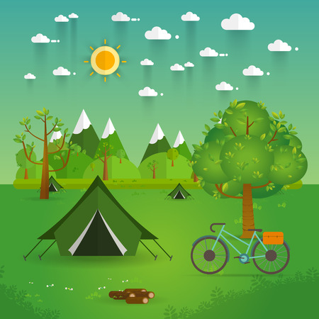romance bed: summer landscape. Morning landscape in the mountains. Solitude in nature by the river. Weekend in the tent. Hiking and camping. Vector flat illustration