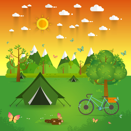 solitude: summer landscape. Morning landscape in the mountains. Solitude in nature by the river. Weekend in the tent. Hiking and camping. Vector flat illustration