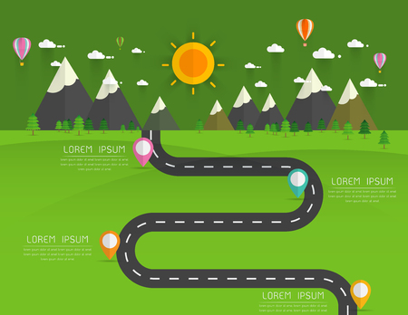 rural road: Road with markers, vector infographics template. Winding road in green field and mountains. Rural street flat style .Landscape background Vector illustration