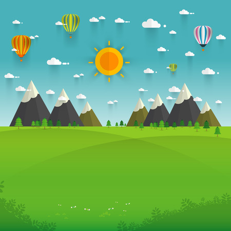 Natural landscape in the flat style. a beautiful park.Environmentally friendly natural landscape.Vector illustration Vettoriali