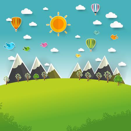 cut up: Mountain landscape on pop up paper cut style, Vector illustration Illustration