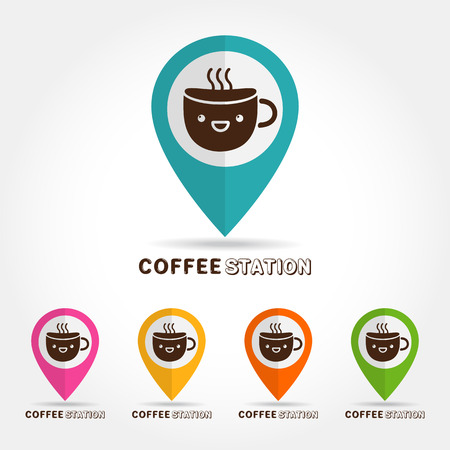 cofee cup: coffee cute cup design elements,cofee station concept,on white background Vector illustration
