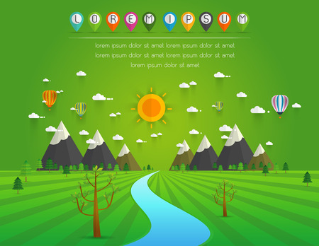 a river flowing through mountains, hills and through scenic green fields, vector illustration. Illustration