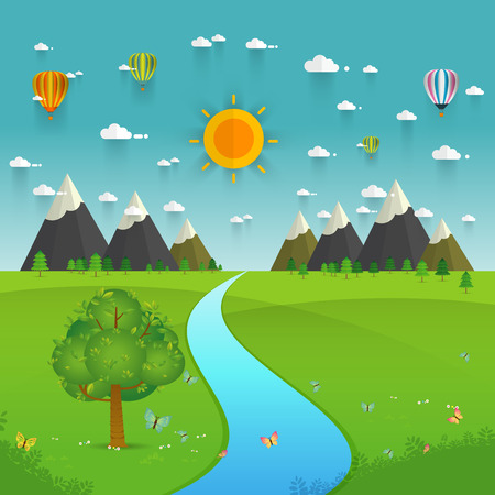 green fields: a river flowing through mountains, hills and through scenic green fields, vector illustration. Illustration
