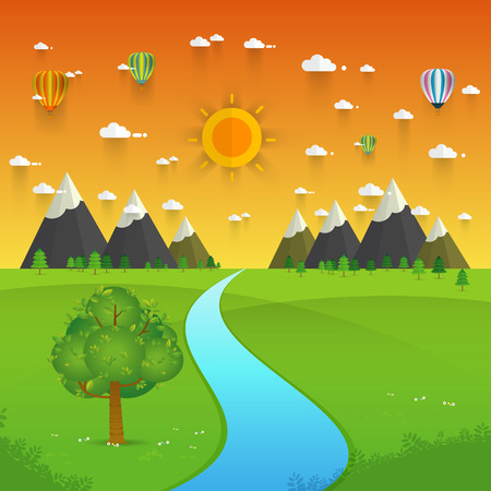 batterfly: a river flowing through mountains, hills and through scenic green fields, vector illustration. Illustration