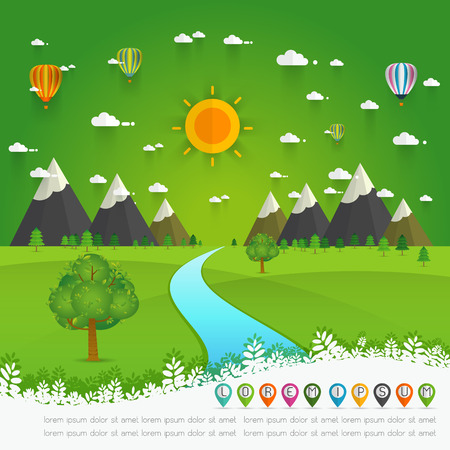 scenic: a river flowing through mountains, hills and through scenic green fields, vector illustration. Illustration