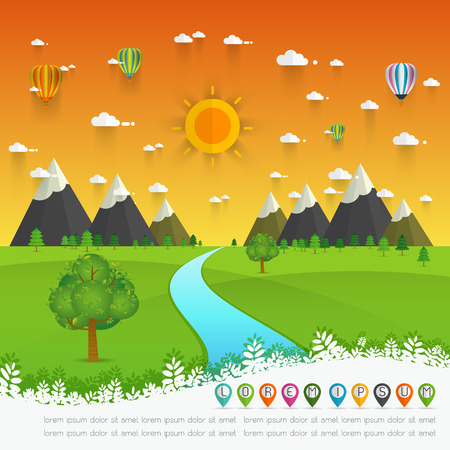 flowing river: a river flowing through mountains, hills and through scenic green fields, vector illustration. Illustration
