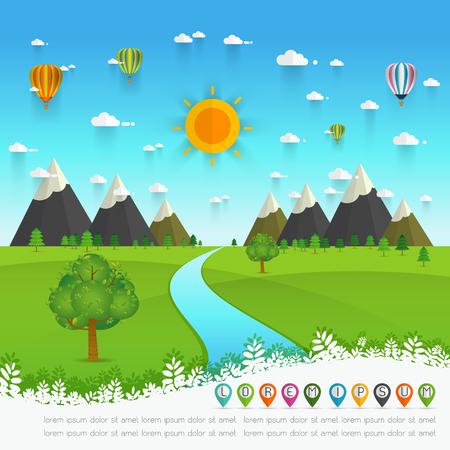 a river flowing through mountains, hills and through scenic green fields, vector illustration. Vektoros illusztráció