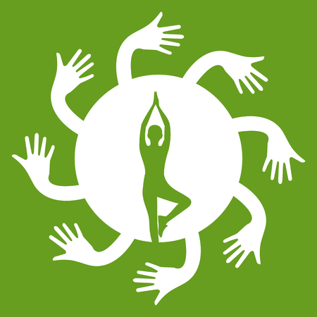 lull: yoga poses in heart with hug hand concept Vector illustration