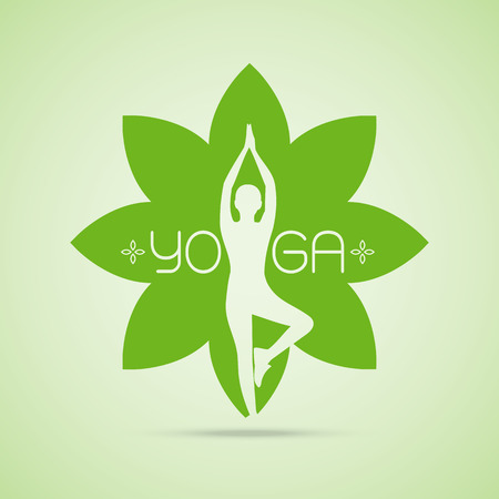 quay: yoga poses in heart with hug hand concept Vector illustration