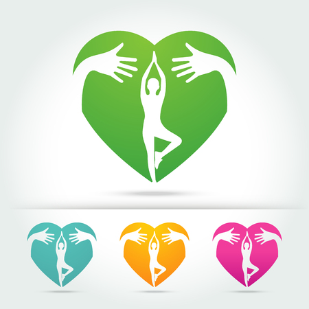 evening class: yoga poses in heart with hug hand concept Vector illustration