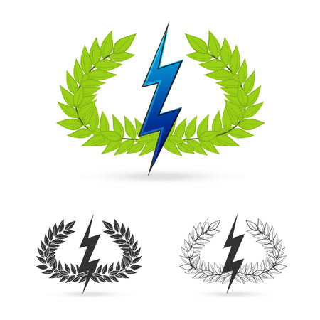 greek god: isolate olive branch with thunder symbol of greek god zeus on white background Vector illustration Illustration