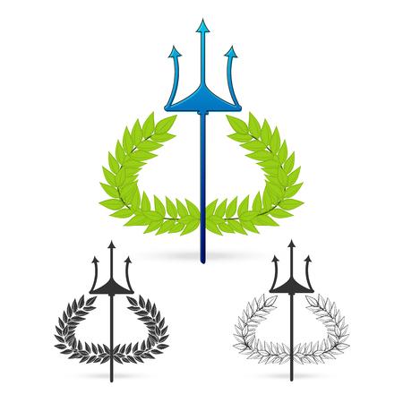 powerfull: isolate olive branch with trident symbol of greek god poseidon on white background Vector illustration Illustration