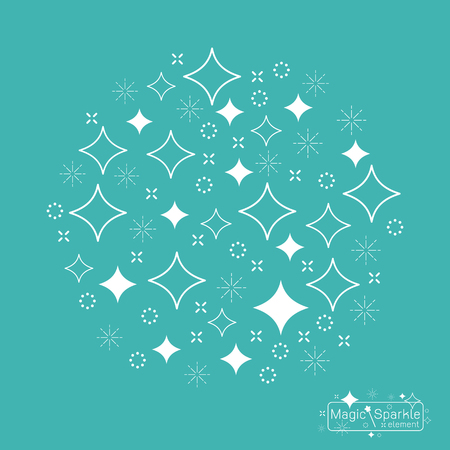 glister: set of a magic sparkle with wand design elements Vector illustration Illustration