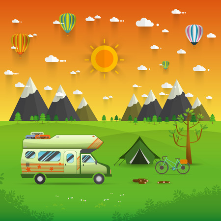 campsite: National mountain park camping scene with family trailer caravan . Campsite place landscape with RV traveler truck, tent,bike, campfire, Hiking journey vacation concept.vector illustration