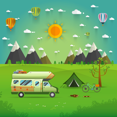 family hiking: National mountain park camping scene with family trailer caravan . Campsite place landscape with RV traveler truck, tent,bike, campfire, Hiking journey vacation concept.vector illustration