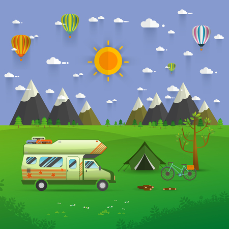 bonfire night: National mountain park camping scene with family trailer caravan . Campsite place landscape with RV traveler truck, tent,bike, campfire, Hiking journey vacation concept.vector illustration