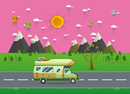 family van: Family traveler truck driving on the road. Outdoor journey camping traveling vacation concept poster card. caravan motorhome van on countryside background landscape. vector illustration.
