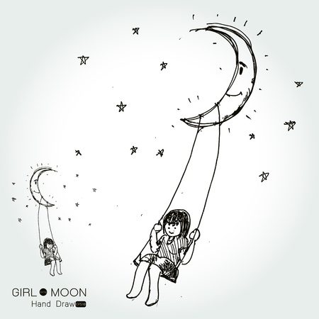 swinging: girl swinging on a moon, drawing by hand from imagination,Vector illustration