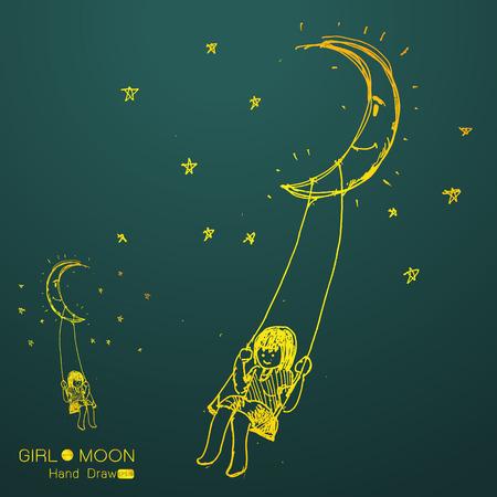 fille se balancer sur une lune, dessin à la main de l'imagination, Vector illustration