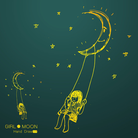 single story: girl swinging on a moon, drawing by hand from imagination,Vector illustration