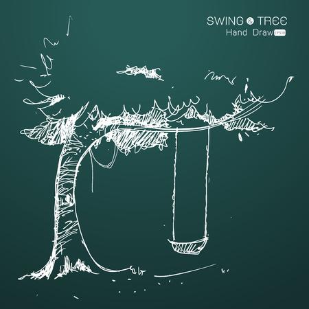 Baum mit Schaukel Hand von Phantasie zeichnen, Vektor-Illustration