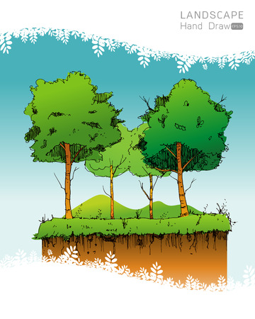 tree isolated: Natural landscape in Hand drawn style. a beautiful park.Environmentally friendly natural landscape.Vector illustration Illustration
