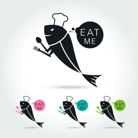 logo poisson: Chef de poisson modèle de conception de logo sur fond blanc Vector illustration Illustration