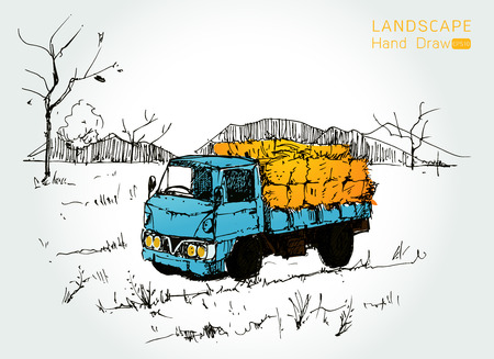 transporting: Farm tractor with wagons transporting hay Hand drawn style,Vector illustration Illustration