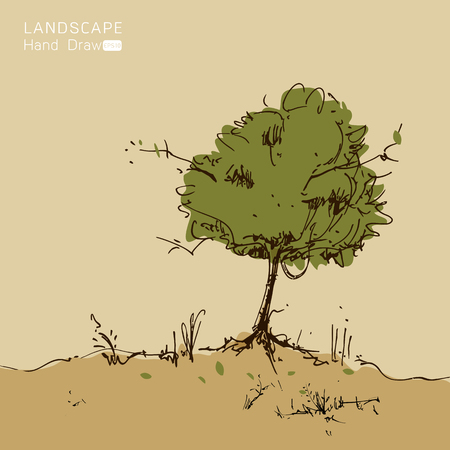 autumn scene: Natural landscape in Hand drawn style. a beautiful park.Environmentally friendly natural landscape.Vector illustration Illustration