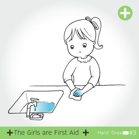 conjunto de la chica de primeros auxilios para el corte de cuchillo, en el fondo blanco ilustración vectorial Ilustración de vector